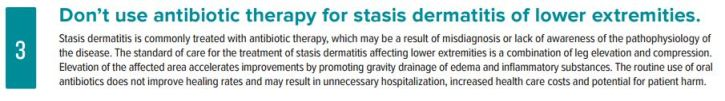 Choosing Wisely - stasis dermatitis IDSA